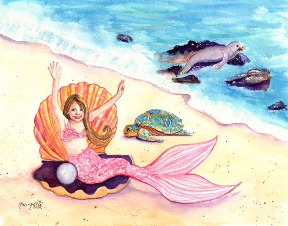 Mermaid Art Print, Mermaid Wall Art, Mermaid Decor, Turtle and Seal, Child Mermaid, Ocean Art, Ocean Decor, Ocean life, Kids Room Art
