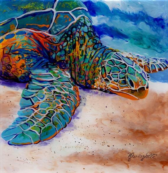 Sea Turtle Painting Hawaii Art Sea Turtle Decor Sea Turtle Wall Art Kauai Poipu Beach Art Colorful Turtle Kauai Turtles Hawaiian Honu