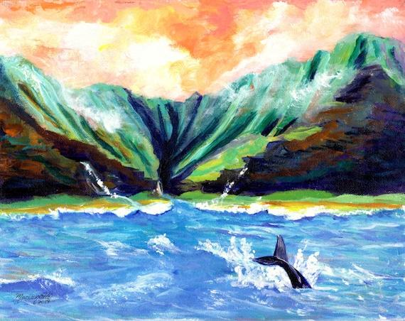Na Pali Coast of Kauai Hawaii Whale Tail Seascape Painting Art Print by Marionette Taboniar