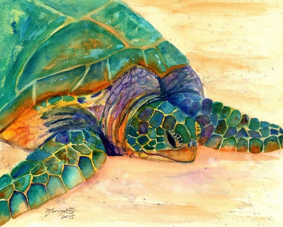 Hawaiian Sea Turtle Fine Art Print - Kauai Art - Honu Paintings - Childrens Wall Art - Ocean Sea Decor - Animal Giclee Print - Beach