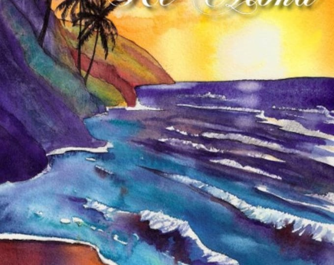 Printable DIY Hawaiian Valentine or Anniversary card 5x7 pdf from Kauai Hawaii Love Aloha Sunset
