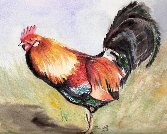 rooster print, kauai rooster art, kauai chickens, kauai birds, kitchen bird art, gifts for him, kauai giclee, hawaii art