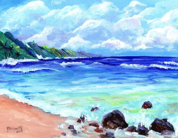 Kauai Print, Kauai Painting, Kauai Beach Art, Hawaii Art, Na Pali Coast Kauai, Seascape Painting, Hawaii Decor, Made in Hawaii, Tropical