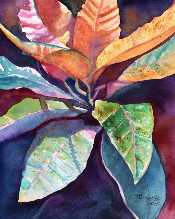 Tropical Leaf art, Tropical Foliage prints, Kauai art, Hawaiian painting, Hawaiian decor, Tropical interior design, Hawaiiana, Hawaii art