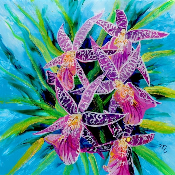 Dancing Orchids Original Reverse Acrylic Painting Kauai Hawaii Hawaiian flower Exotic Decor Hawaii Interior Design Orchid Bouquet