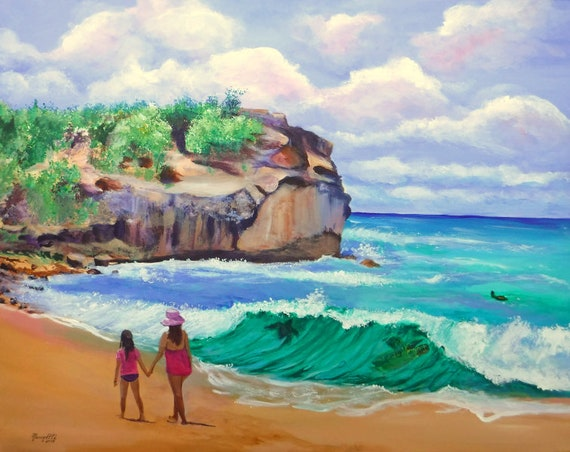 A Walk on Shipwrecks Beach Original Acrylic Painting from Kauai Hawaii by Marionette Taboniar Turtles Swimming in Wave