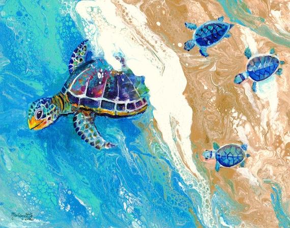Baby Sea Turtle Wall Art, Sea Turtle Painting, Turtle lovers, Honu Hawaiian Turtles, Nursery art, Ocean decor, Beach decor, Turtle Print