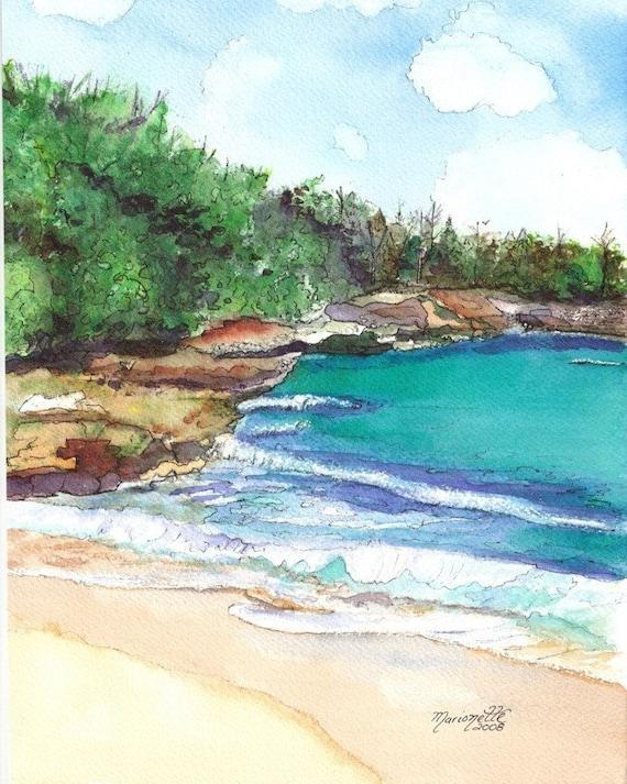 Kauai Beach art, Kauai art, Kauai prints, hawaiian seascapes, beaches, fine art beach print, hawaii decor, kauaiartist, kauai watercolors