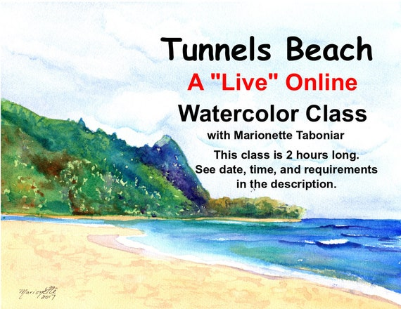 Tunnels Beach - A Live Online Watercolor Class with Marionette Taboniar - Tuesday, February 2 -  Two Hour Class - Zoom Art Classes