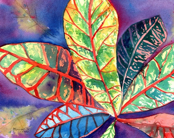 Croton Plant Original Watercolor Painting, Hawaii Art, Tropical Leaves Watercolor, Hawaii Gift, Made in Hawaii, Kauai Original Paintings