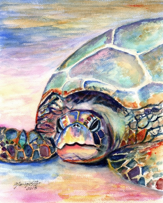 sea turtle art print nursery decor hawaiian paintings hawaii art green sea turtles beach decor sea turtle painting beach lovers gift