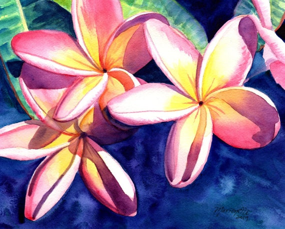 Plumeria Watercolor Print Tropical Flowers Kauai Plumeria Frangipani Art Plumeria Wall Art Hawaiian Painting Aloha Flower Hawaii Decor