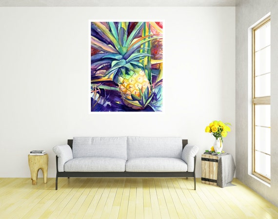Kauai Pineapple 4 Large Art Print 16x20 18x24 24x30 Hawaiian Art Kauai Art Hawaiian Decor Hawaii Art Print Tropical Fruit