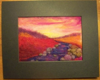 Needle Felted Sunset Landscape
