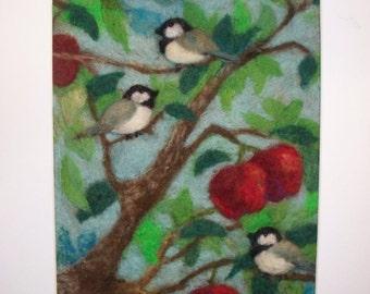 Needle Felted Chickadee Bird Painting