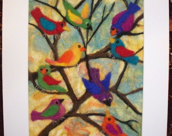 Needle Felted Colorful Birds