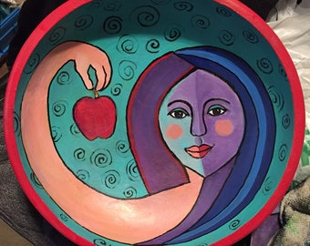 Painted Wooden Bowl-Straight for the Garden