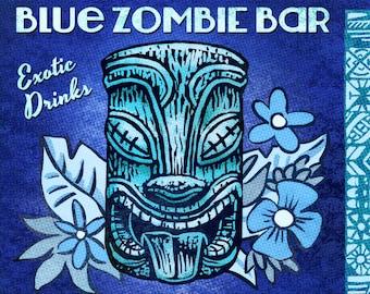 Blue Zombie Matchbook Art Print