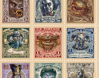 """Cult Movie Collection Stamp Block- 11"""" x 14"""" limited edition print"""