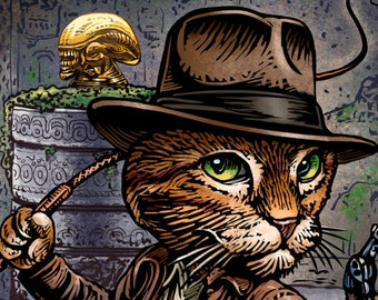 Indiana Jonesy: Raiders of the Lost Xenomorph-  8 x10 signed print