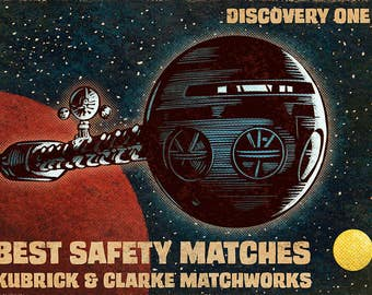 """Space Odyssey Matchbox Art- 5"""" x 7"""" signed matted print"""