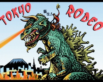 "Tokyo Rodeo 8"" x 10"" Kaiju Art Print- Whimsical Monster With Cowboy"
