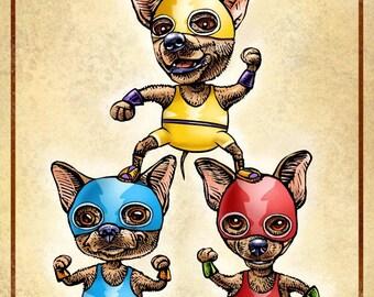 Ay Chihuahuas- Chihuahua dogs as Lucha Libre Wrestlers