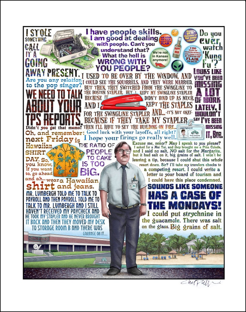 Case Of The Mondays Office Space Tribute Signed Print Etsy