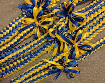 6-pack Single braid ribbon lei