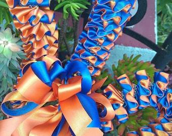 Plumeria style ribbon lei