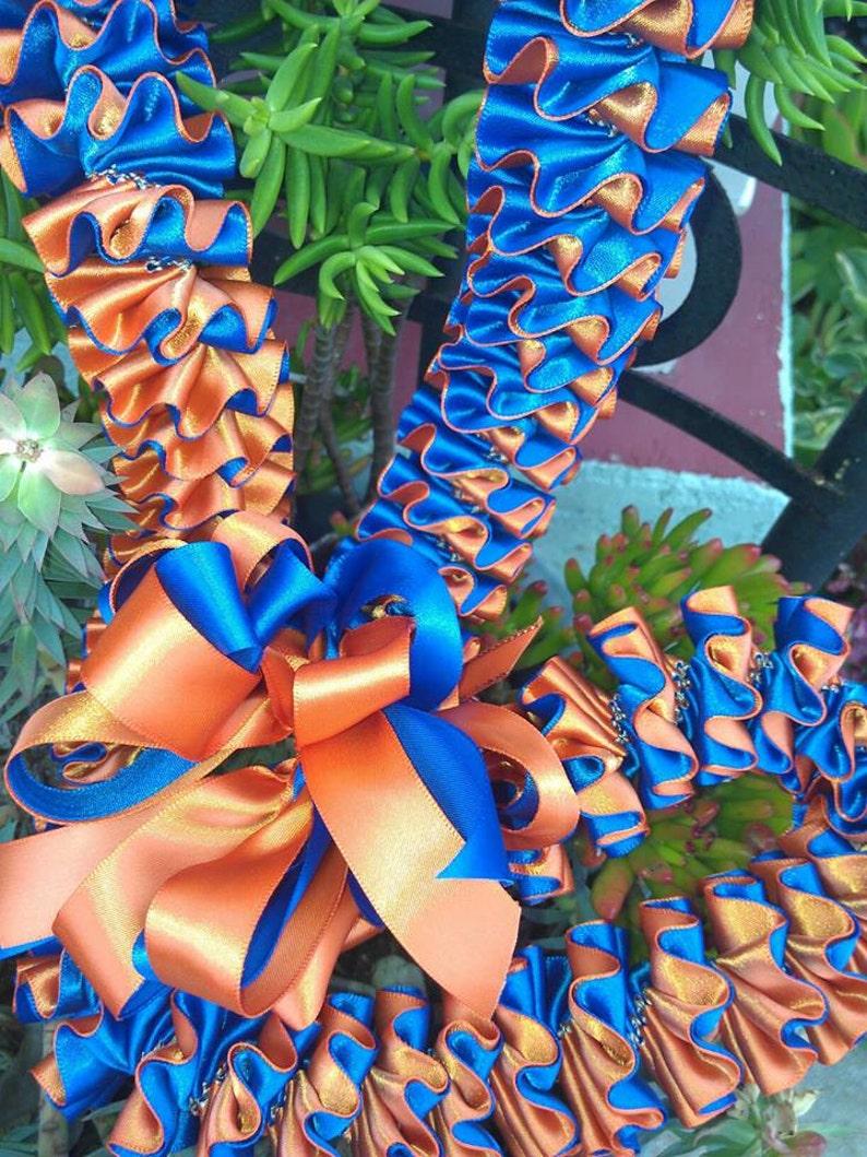 Plumeria style ribbon lei image 0