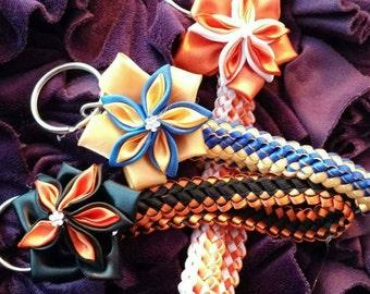 Double braid keychain with flower