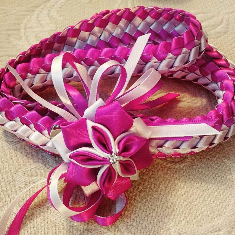 Double Braid Ribbon Lei With Flower image 0