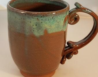 Coffee, Tea, Hot Chocolate Mug in brown stoneware with turquoise glaze