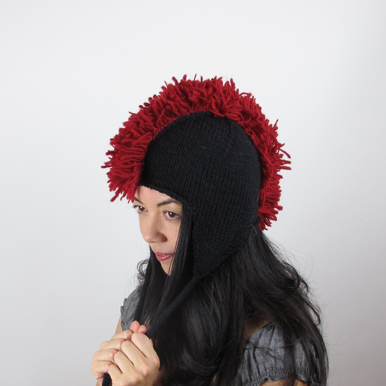 5913c13baaf Red mohawk hat cherry red ear flap hat wool hand knit jpg 1500x1500 Red  knit mohawk