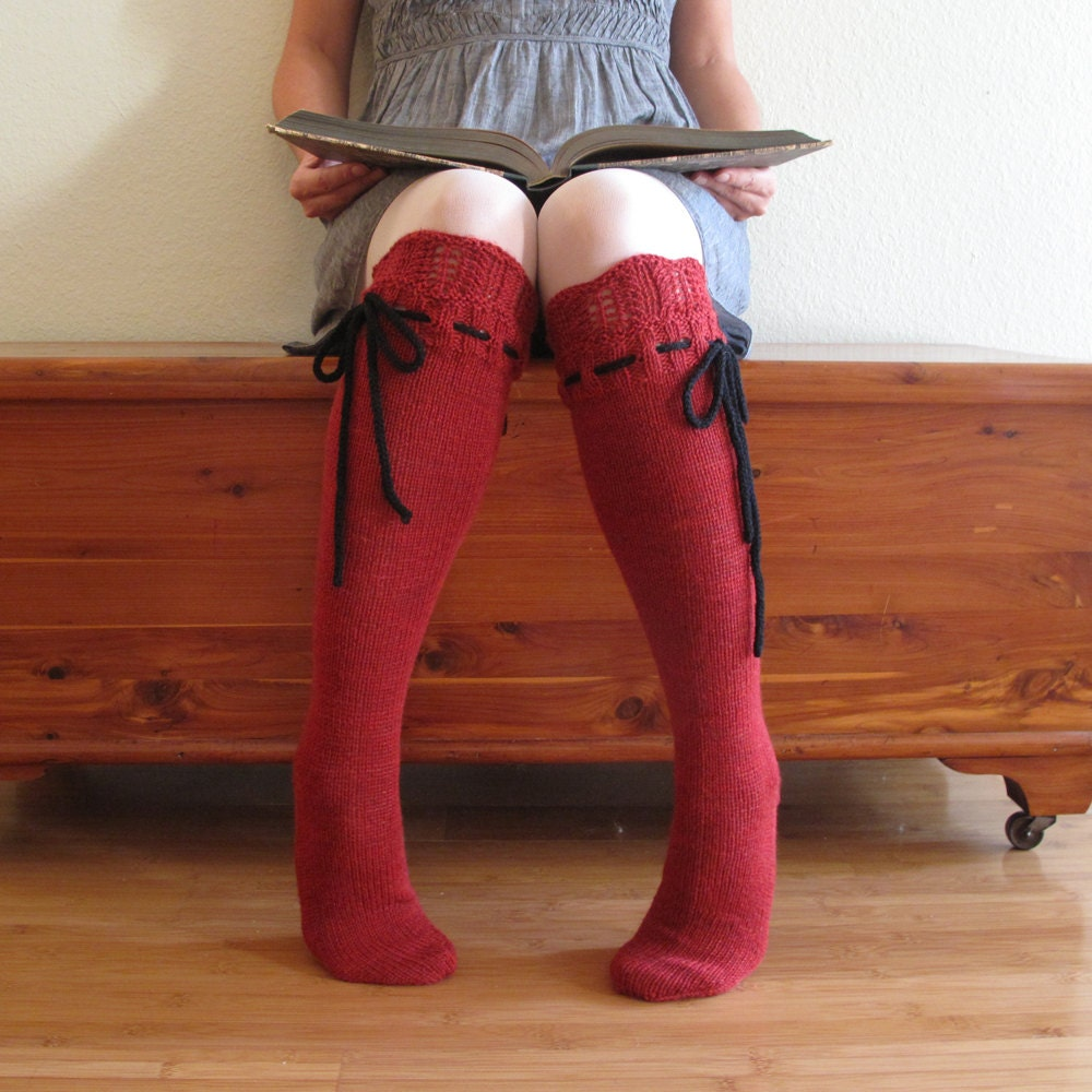 43187fd7bf1 Knee High Socks Classic Red Lace with Black Ties hand knit