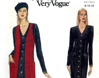 Vogue 8757 Easy Button Front Column Dress and Duster Vest Size 8 10 12 Uncut Vintage Sewing Pattern 1993