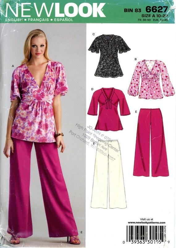 1f56386e95d805 New Look 6627 Pullover Knit Top Blouse Shirt Tunic High Waist