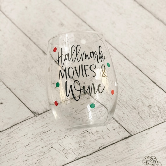 Hallmark Movies & Wine, Holiday Glass, Christmas, Movie Watching, Gift For Her, Holiday Glass, Christmas Gift by Etsy