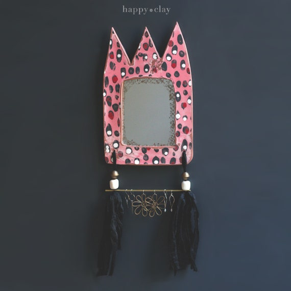 terracota ceramic mirrored earring holder