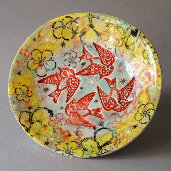 Wall to table Lotus Garden bird Platter