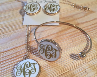 Personalized gold and white enamel jewelry set with your monogram