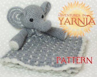 Elephant Lovey Crochet Pattern, INSTANT DOWNLOAD PDF, security blanket