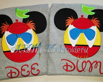 Personalized Tweedledee or Tweedledum Mouse head Short Sleeved Shirt