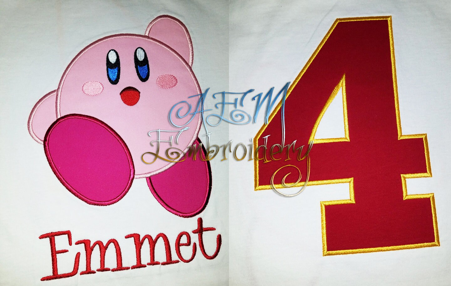 12fbcd0503f5 Kirby Birthday Shirt Front and Back Embroidery Youth Shirt Turnaround 4+  weeks