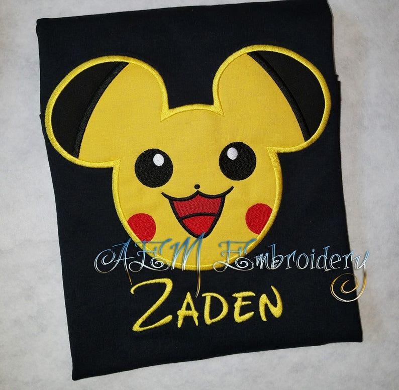 272cb829 Pokemon Pikachu Mousehead Personalized Short Sleeve Shirt | Etsy