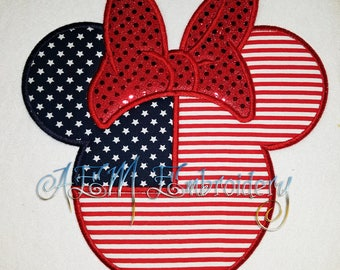 Personalized 4th of July Mousehead with Bow Shirt