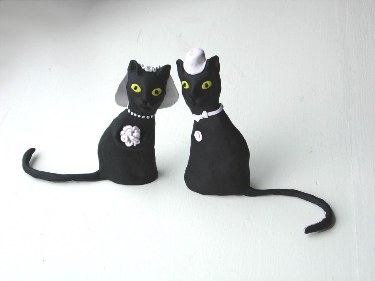 cat wedding cake toppers black cats wedding cake topper made to order etsy 2519