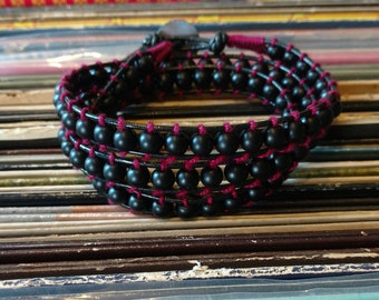 Black and red leather beaded wrap bracelet