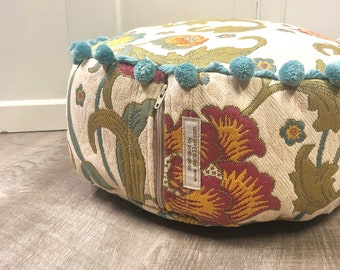 Vintage Floral Personal Pouf Made from Upcycled Fabric | Meditation Pillow | Yoga Cushion | Small Floor Pillow